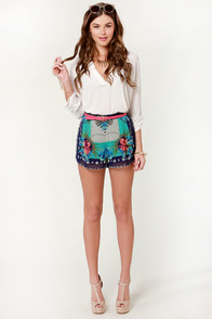 Be More Pacific Blue Tropical Print Shorts at Lulus.com!