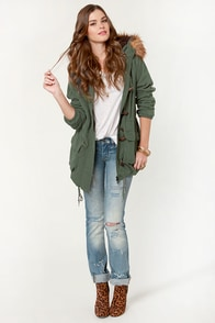 Obey Sherpa Bridgeport 2 Army Green Parka Jacket at Lulus.com!