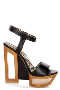 Jessica Simpson Tanya Black Architectural Cutout Platform Wedges at Lulus.com!