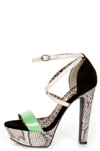 Jessica Simpson Parie Mint Tea Combo Snake Print Platform Heels
