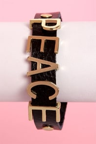 Peace o' Cake Black Leather Bracelet at Lulus.com!