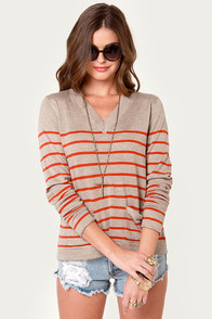 Prep In Your Step Orange and Taupe Striped Sweater at Lulus.com!