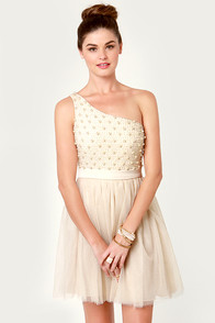 Only Pearls in the World One Shoulder Cream Dress at Lulus.com!