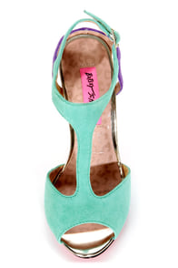 Betsey Johnson Blonddee Turquoise Multi T Strap Peep Toe Heels at Lulus.com!