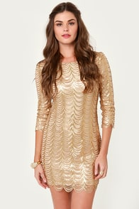 Bling Dynasty Gold Sequin Dress at Lulus.com!