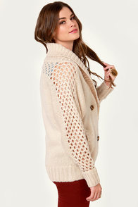 Bundled Up Joy Beige Cardigan Sweater at Lulus.com!