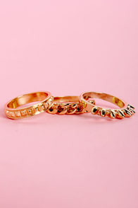 Three Ring Circus Gold Ring Set at Lulus.com!