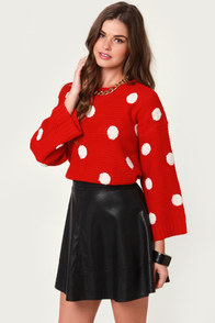 Sweeter Dotter Red Polka Dot Sweater at Lulus.com!