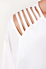 Strappy Gilmore Cutout Ivory Top at Lulus.com!