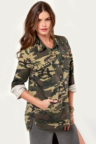 In the Charm-y Now Studded Camo Jacket at Lulus.com!
