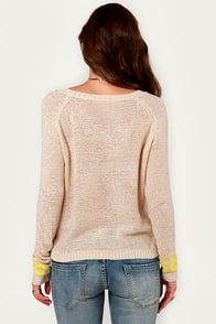 Alps, I Did It Again Beige Print Sweater at Lulus.com!