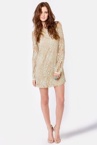 Frozen in Time Blue and Beige Lace Dress at Lulus.com!