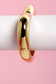 Love Me Do Gold Heart Bracelet at Lulus.com!