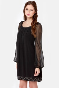 Falling Stars Beaded Black Shift Dress at Lulus.com!