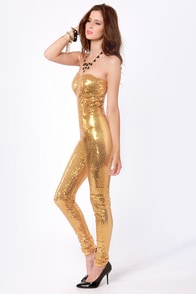 One for the Money Strapless Gold Sequin Jumpsuit at Lulus.com!
