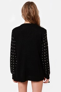 Stud-y Guide Studded Black Cardigan Sweater at Lulus.com!
