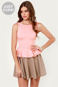 Flare-y Tale Taupe and Pink Dress at Lulus.com!