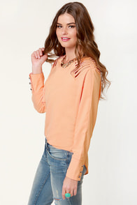 Strappy Gilmore Cutout Peach Top at Lulus.com!