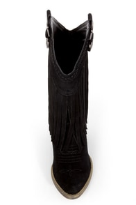 Very Volatile Hillside Black Fringe Leather Cowboy Boots at Lulus.com!