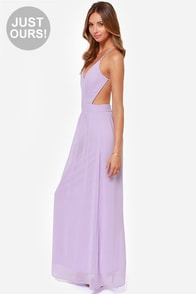 LULUS Exclusive Rooftop Garden Backless Lavender Maxi Dress