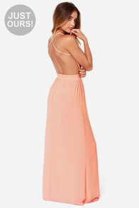 LULUS Exclusive Rooftop Garden Backless Peach Maxi Dress