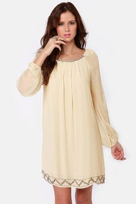 Falling Stars Beaded Cream Shift Dress at Lulus.com!
