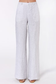 Getting Yacht in Here White Striped Linen Pants at Lulus.com!