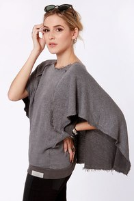 RVCA Valspeak Grey Sweater Top at Lulus.com!