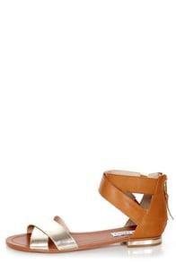 Steve Madden Benadet Gold Multi Flat Sandals