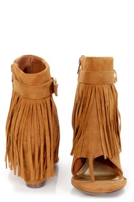 Bamboo Cosette 01 Chestnut Fringe Thong Wedge Booties at Lulus.com!