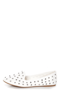 Bamboo Kiwi 01 White Canvas Studded Smoking Slipper Flats at Lulus.com!