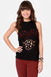 Turning Back Around Cutout Black Muscle Tee at Lulus.com!