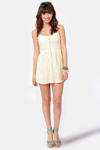 Volcom Not So Classic Cream Lace Dress at Lulus.com!
