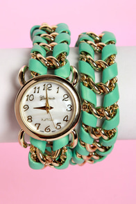 Clock Hop Mint Green Wraparound Watch at Lulus.com!