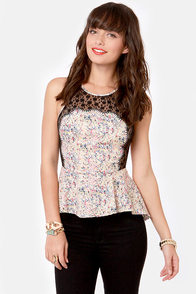 Sincerest Form of Splattery Print Peplum Top