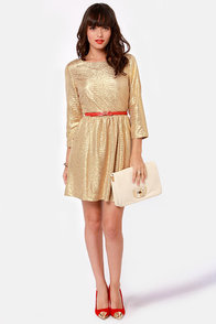 Gold Fever Metallic Gold Dress at Lulus.com!