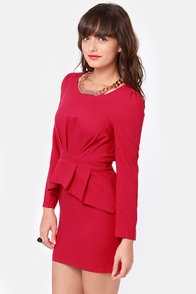Currant Event Wine Red Long Sleeve Dress at Lulus.com!
