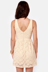 Birthday Party Cream Lace Dress at Lulus.com!