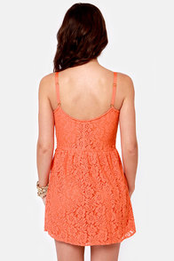 Volcom Not So Classic Coral Orange Lace Dress at Lulus.com!