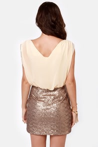 Countdown to Cute Cream and Gold Sequin Dress at Lulus.com!