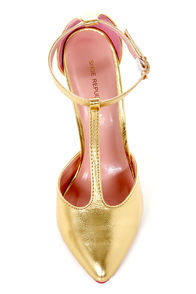 Shoe Republic LA Think Gold Metallic T Strap Pointed Pumps at Lulus.com!