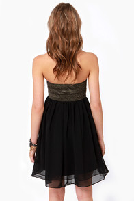 On the Glam Beaded Strapless Black Dress at Lulus.com!