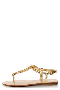 Bamboo Steno 70 Gold Rhinestone T Strap Thong Sandals at Lulus.com!