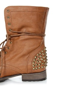 Georgia 28 Tan Studded Lace-Up Combat Boots at Lulus.com!