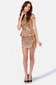 Champagne Dame Antique Gold Sequin Dress at Lulus.com!