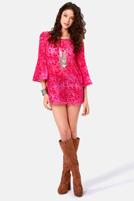 Gypsy Junkies Blossom Velvet Berry Pink Tunic Top at Lulus.com!