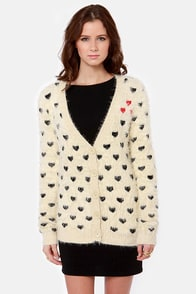 Artsy Heart-sy Cream Cardigan Sweater at Lulus.com!
