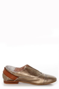 Sixtyseven Kristy Bronze Vachetta Leather Lace-less Oxfords at Lulus.com!