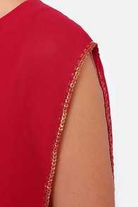 La Sirena Red and Gold Sequin Dress at Lulus.com!