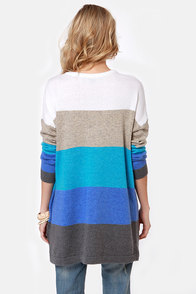 Hot Cocoa Bright Blue Striped Sweater at Lulus.com!